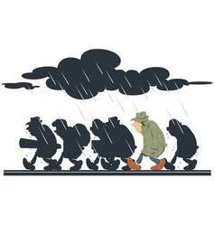 people going in rain stock vector image