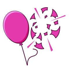Pink balloon popped on white background vector