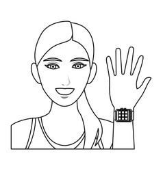 Pretty woman sport with smart watch wearable vector