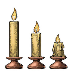 process of candle burning vector image