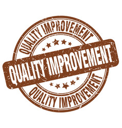 Quality improvement brown grunge stamp vector