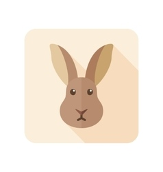Rabbit flat icon with long shadow vector image