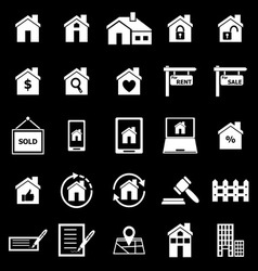 Real estate icons on black background vector