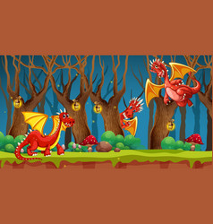 Red dragon in fairy tale forest vector