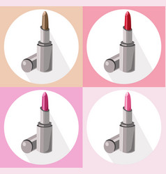 red lipstick icon set collection style contour vector image