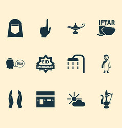 Religion icons set collection of bowl dua mecca vector