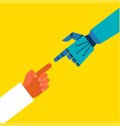 Robotic and human hands connection vector