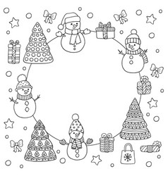 Round frame with snowmen and christmas trees vector
