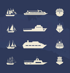 sailboat and ship icons collection on grunge vector image
