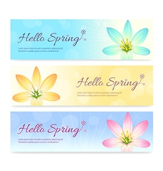 Set of colorful hello spring season banner vector image