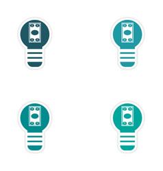 Set of stylish sticker on paper bill in light bulb vector