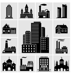 set various buildings and real estate icons vector image