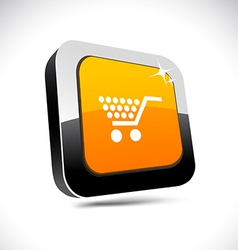 Shopping 3d square button vector
