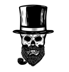 skull with retro hat and smoking pipe design vector image