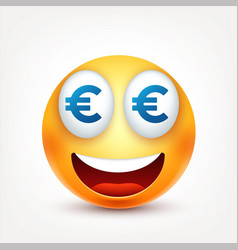 Smileymoneysmiling emoticon yellow face with vector