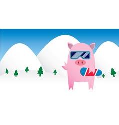 Snowboarding Pig vector