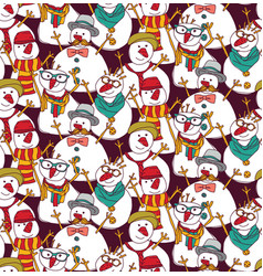 snowmen fashion hipster color seamless pattern vector image