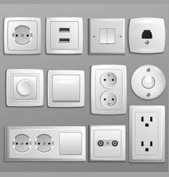 Socket and switch electrical outlet for vector