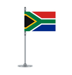 South african flag on the metallic pole vector