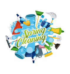 Spring cleaning water splash work supplies vector