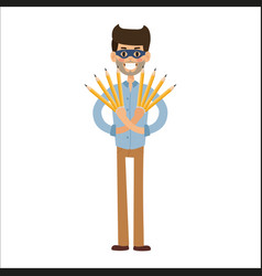 Superhero business man character vector