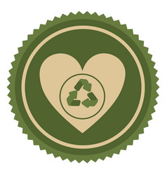 Symbol green heart with ecolgy signal vector