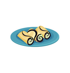 tasty rolls with cream cheese and greens vector image