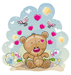 Teddy bear with flowers vector
