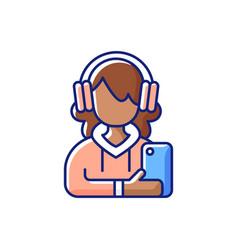 Teenage girl rgb color icon vector
