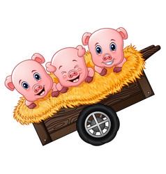 Three little pig cartoon on the cart vector