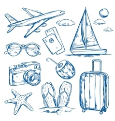 Travel Elements Sketch Set vector image