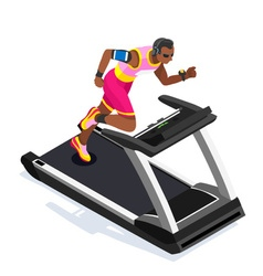 Treadmill Gym Class Working Out 3D Flat Image vector