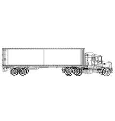 Truck with semitrailer vector