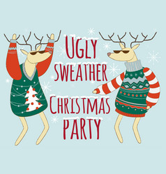 Ugly sweather christmas party vector