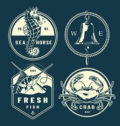 vintage monochrome marine emblems set vector image