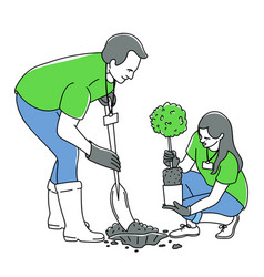 volunteers planting a tree vector image