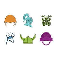 war helmet icon set color outline style vector image