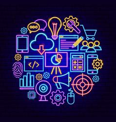 Website development neon concept vector