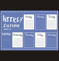 Weekly calendar report vector