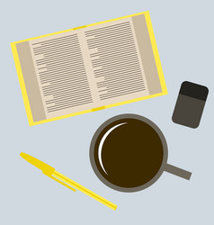 Workplace desk book and a cup of coffee top angle vector