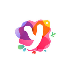 y letter logo with sale icons overlapping vector image