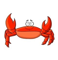 Cartoon red crab with upward claws vector image vector image
