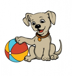 dog with beach ball vector image vector image