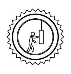 emblem person knocking punching bag vector image