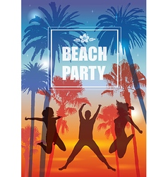 Exotic Banner with Palm Trees and People vector image vector image