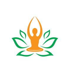leaf nature yoga meditation logo vector image vector image