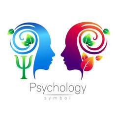 modern head logo sign of psychology profile human vector image