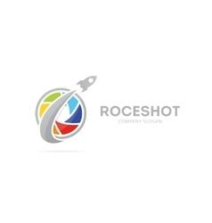 rocket and camera shutter logo vector image vector image