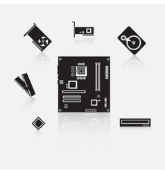 Set of computer components vector image vector image