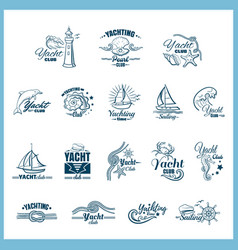 yachting badges set vector image